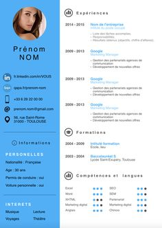 exemple cv moderne 2015 If you like this cv template. Check others on my CV template board :) Thanks for sharing! Cv Infographic, Infographic Resume Template, Nursing Resume Template, Resume Template Free, Sample Resume, Resume Format, Resume Cv, Word Cv, Cv Words