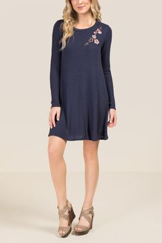 The Alberta Embroidered Waffle Knit Dress features floral embroidery along the front shoulder of the waffle knit dress. Cos Outfit, Cos Clothes, Waffle Knit, Floral Embroidery, Knit Dress, Cold Shoulder Dress, Navy, Knitting, Model
