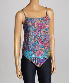 Look what I found on #zulily! Blue  Pink Patchwork Paisley Tank by Le Mieux #zulilyfinds