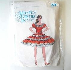 Square Dance Dress Pattern Ruffled Tiers Skirt Bodice Authentic 328 Cut as 14   eBay