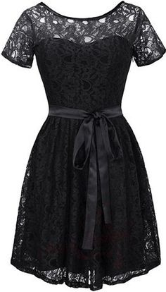 4622aba0f3de Černé krátké krajkové šaty koktejlky s krátkým rukávem Date Outfits