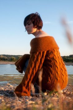 Gold brown Hand knitted chunky  Sweater M/L by kovale on Etsy, $226.00