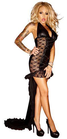 Transparentes Spitzen Wetlook Kleid Schleppe schwarz