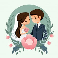 Cute bride and groom with flower background for wedding invitation card Vector