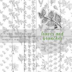 Leaves Digital Paper Leaves Clipart Seamless Pattern Greenery