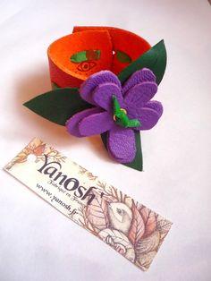 BRACELET LARGE FLEUR cuir violet orange vert   Bracelet par yanosh Cuir,  Fleurs a1daf45d864