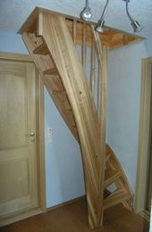 New loft stairs diy attic spaces 20 ideas - Dachboden Space Saving Staircase, Loft Staircase, Attic Stairs, Staircase Design, Spiral Staircase, Staircases, Stairs To Loft, Small Staircase, Stairs Window