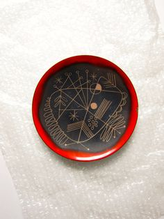 Edward Winter Enamel Dish Tray in Red Black and by ModernSquirrel