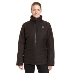 Women's Champion Hooded 3-in-1 Systems Jacket, Size: Medium, Black