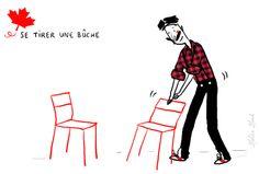 Se tirer une bûche : prendre une chaise | Photo: Zelda Zonk @ TV5MONDE. http://www.tv5.org/cms/chaine-francophone/lf/Tous-les-dossiers-et-les-publications-LF/Les-expressions-imagees-quebecoises/Expressions-imagees-quebecoises/p-9281-Se-tirer-une-buche.htm