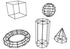 Wireframe models of a cube, cone, cylinder, sphere, and torus. Square Drawing, Basic Drawing, 3d Computer Graphics, 3d Mesh, Shape Tattoo, Basic Shapes, Wireframe, Geometric Shapes, Line Art