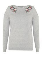 Looking for an instant style update? Keep it fashionable this season with women's accessories, clothing, dresses, jackets, shoes & more at Dorothy Perkins. Cold Shoulder Jumper, Sweatshirts, Grey, Long Sleeve, Floral, Fabric, Sweaters, How To Wear, Shopping
