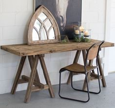 Industrial And Rustic, The Recycled Wood Console Offers A Stylish Surface  For Casual Entryways And Living Spaces. This Table Features A Saw Horse  Base ...