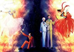 Sailor Moon//  Princess Serenity,Seiya Kou, Taiki Kou, Yaten Kou and  Princess Kakyuu