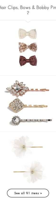 """Hair Clips, Bows & Bobby Pins ♥"" by allweknowisfalling ❤ liked on Polyvore featuring accessories, hair stuff, hair accessories, jewelry, hair, hats, multi, rhinestone hair pins, long hair accessories and hair clip accessories"