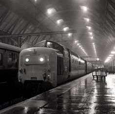 King's Cross station: Deltic loco 55003 December 1977 Electric Locomotive, Diesel Locomotive, Steam Trains Uk, Road Construction, Railway Posters, British Rail, Train Tickets, Train Journey, Hill Station