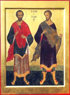 "St. Cosmas and st. Damian. 2012. Wood, gesso, tempera, gilding. 19,69""x 14,57"". Church of the Most Holy Theotokos ""Inexhaustible Cup"" in Brooklyn, NYC (USA)."