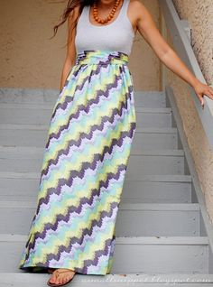Maxi dress tutorial out of cheap tank top and 1.5yds fabric. Easy and cute!