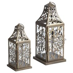 I picked up one of these antiqued Scroll Lanterns a few weeks back. I really love the light patterns that the scrollwork makes on the walls.