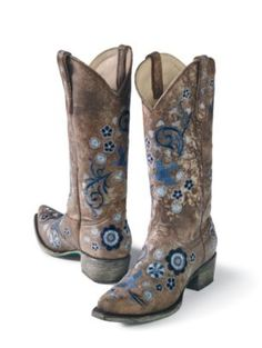 Intricate floral embroidery gives beautifully handmade, all-leather boots lots of flower power. shaft and stacked leather heel. Gypsy Cowgirl Style, Gypsy Style, My Style, Cute Boots, Cowgirl Boots, Sock Shoes, Southern Style, Country Style, Leather Heels