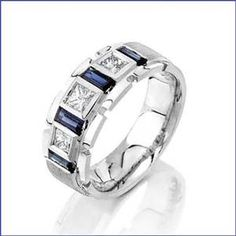 mens estate blue sapphire wedding band ring solid platinum eragem