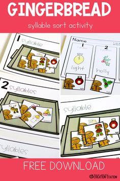 Add this fun syllable activity to your preschool home center or your kindergarten literacy center for the holiday season! This free resource includes gingerbread themed cards with pictures and words, and baking tray printables for up to three syllables. Have your preschool or kindergarten student sort the cards into the correct syllables for a holiday themed activity. #gingerbread #holidays #syllables #freeresource #kindergarten #preschool Kindergarten Literacy, Early Literacy, Preschool, Fun Learning, Learning Activities, Teaching Kids, Holiday Activities For Kids, Valentines Day Activities, Sorting Activities