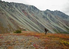Jason shooting photos in the Alaska Range near Rainbow Ridge