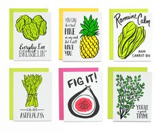 Oh my gourd! It's an assorted box of cards with veggie and fruit food puns! Each set comes with 6 cards, one of each design, covering everyday occasions, including: love, encouragement, well wishes and thinking of you.