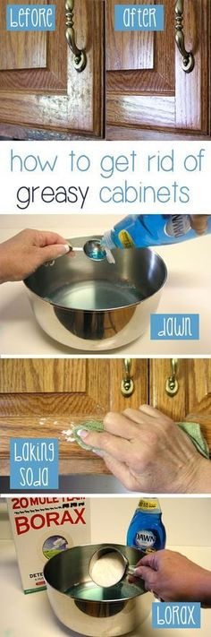 How to Clean Grease From Kitchen Cabinet Doors Cleaning kitchen cabinets is important, especially grease stains as they usually go unnoticed and grow gradually. In this post, you'll find easy ways to clean grease from kitchen cabinets. Household Cleaning Tips, Cleaning Recipes, Household Cleaners, House Cleaning Tips, Deep Cleaning, Spring Cleaning, Cleaning Hacks, Cleaning Supplies, Kitchen Cleaning