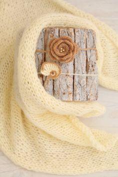 SET Knit Newborn Vanilla / Honey Color Wrap & 2 Handmade Angora Flower and Seashell Tiebacks / Matching Headbands / Newborn Photography Prop by SoftButterflyKiss on Etsy