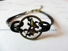two black leathers antique bronze retro style birds adjustable cuff bracelet by accessory365, $5.00