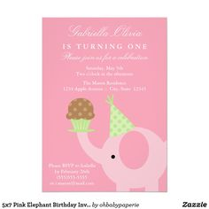 5x7 Pink Elephant Birthday Invitation