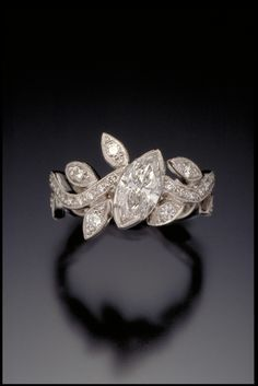Marquise Diamond Leaf and Vine Ring