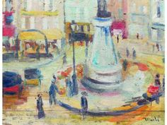 #ElishaMACLET (1881-1962) #Place Pigalle, #Paris. Oil on panel signed lower right.