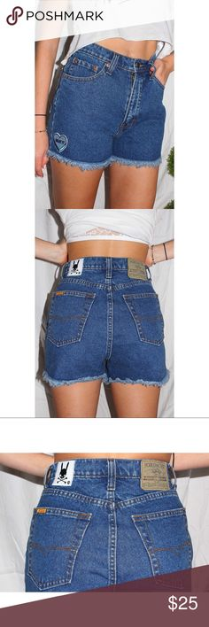 """vintage highwaisted jordache denim shorts brand: jordache  customizations: heart patch at front   every pair of skullznbunniez jeans are proved authentic by the patch on the back.   PLEASE PAY ATTENTION TO MEASUREMENTS! vintage jeans can be really off by the tag size. we reccomend an extra inch in the waist to ensure a good fit.   approximate measurements:  these shorts fit highwaisted.   waist: 26"""" hips: 35"""" inseam/length of shorts: 2""""  listed as NWT because this is a reconstructed item…"""