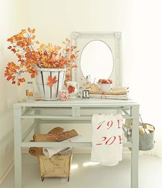 "Free Fall decorations can be found everywhere :: <a href=""http://frenchlarkspur.blogspot.nl/2012/10/a-little-fall-decorating.html""><span style=""text-decoration: underline;""><strong>Fall Leaves and Vintage Finds Mantel</strong></span></a>"