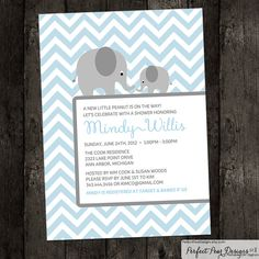 """""""Little Peanut on the way"""" Chevron theme Momma and Baby elephant Baby Shower Invitation! Customize color theme to suit new baby girl, boy, twins, or go with a neutral color palate - by PerfectPearDesigns, $15.00"""