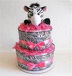 Zebra diaper cake.. Too cute