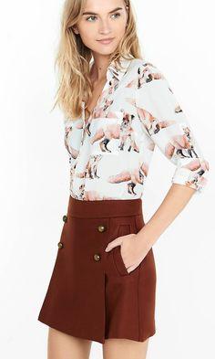 Fox Print Convertible Sleeve Portofino Shirt | Express