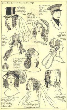 Late 1860's ladies hats Coiffures victoriennes