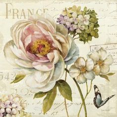 Romantic vintage floral for a shabby chic idea greetings card