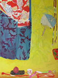 False Palm (Shadow) and Kimono, OIl on canvas, Elizabeth Blackadder - The Scottish Gallery, Edinburgh - Contemporary Art Since 1842 Painting Still Life, Love Painting, Painting & Drawing, Abstract Format, Women Artist, Blackadder, Painter Artist, Female Art, Oil On Canvas