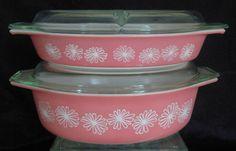 Vintage Pyrex Pink Daisy 1950s Cinderella Oval Casserole
