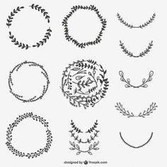hand drawn branches graphic design elements set vector laurel leaf frame by anastasiaartdes on. Black Bedroom Furniture Sets. Home Design Ideas
