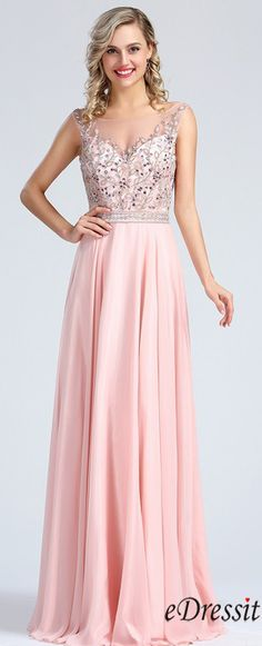 eDressit Pink Beaded Prom Evening Dress