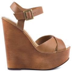 Join in on the fun with this versatile wedge by Chinese Laundry. The Join Me brings you a simple and classic tan leather upper with crossing vamp design and adjustable ankle strap. A stacked 5 3/4 inch wedge and 1 1/2 inch platform deliver the perfect amount of height.