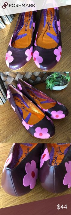 """Irregular Choice Women's Shoes ~ Never Worn~NWOT Irregular Choice Shoes ~ Always A Statement Piece ~ These 1"""" Heel Shoes Are Just perfect Fun Statement~  Purple  With Pink Flowers Layered On Top ~ Never Worn ~ Orange Mylar Lining ~ Bright Orange Bottom ~ Euro Size 38 ~ Made In China ~ No Box Irregular Choice Shoes Flats & Loafers"""