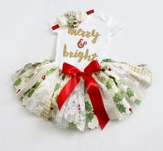 PRE-SEASON SALE $10 off! // Fabric Tutu Outfit // First Christmas // Buy it now on Etsy from FlyAwayJo!
