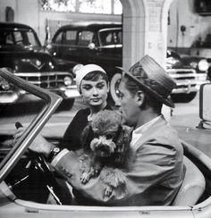 "Audrey Hepburn and William Holden on the set of ""Sabrina"""
