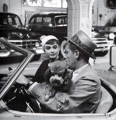 "Audrey Hepburn and William Holden on the set of ""Sabrina"""